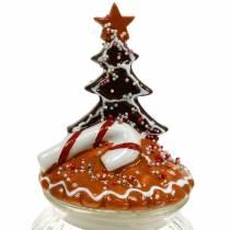 Bocal en verre avec couvercle en céramique pain d'épices blanc, marron Bocal à biscuits H21,5cm