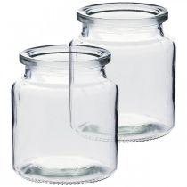 Récipient en verre pour le remplissage, vase à fleurs, décoration de table, lanterne en verre 2pcs