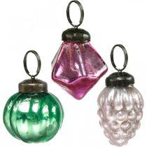 Mélange de boules de verre, diamant / boule / cône en verre véritable, aspect antique Ø3–3,5cm H4,5–5,5cm 9pcs