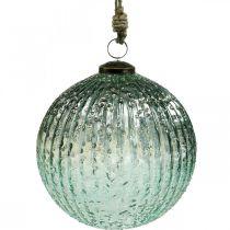 Boule en verre à suspendre en verre de décoration de Noël vintage bleu Ø15cm