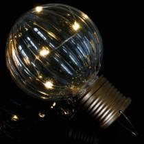 Lampe LED solaire look rétro transparent blanc chaud Ø8cm