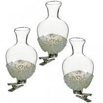 Vase en verre avec clip paillettes et perles Ø4,9cm H9,5cm transparent 3pcs