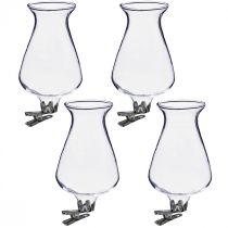 Vase en verre tulipe avec clip Ø5,9cm H11cm transparent 4pcs