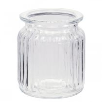 Vase en verre strié Ø7.5cm H9cm