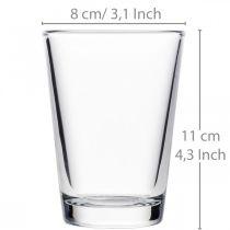 Vase en verre transparent Ø8cm H11cm pour décoration de table