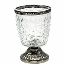 Vent léger en verre sur la base antique avec bord en métal Ø9cm H13,5cm