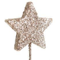 Paillette étoile sur fil 4cm L23cm or clair