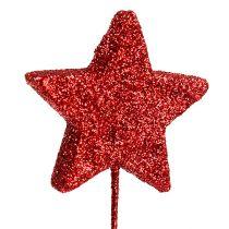 Étoile scintillante sur fil 4cm rouge L22cm 60pcs