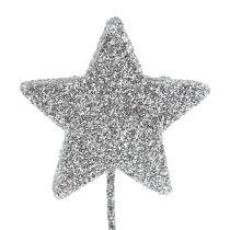 Étoile scintillante argent 5cm sur le fil L22cm 48pcs