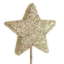 Étoiles scintillantes sur le fil 5cm or L23cm 48pcs