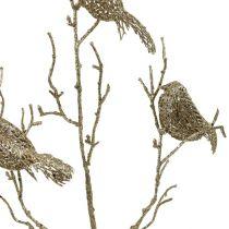 Branche scintillante avec oiseaux 75cm doré