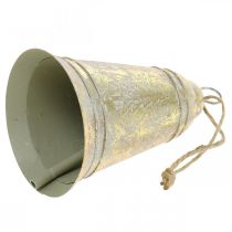 Cloche de Noël à accrocher, Avent, cloche à décor de sapin doré aspect antique Ø10,5cm H17cm