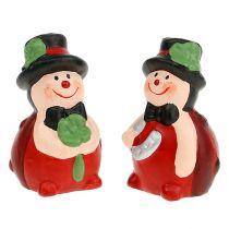 Porte-bonheur coccinelle en céramique 6 cm rouge 12 p.