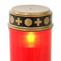 Lampe funéraire LED rouge, minuterie blanc chaud à piles Ø6.8 H12.2cm