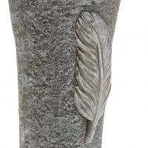 Vase grave avec plume gris 25,5cm 2pcs