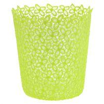 Cache-pot crocheté vert avec réservoir Ø 18 cm H. 20 cm