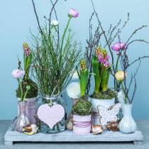 Décoration à suspendre coeur fleur papillon blanc, rose bois décoration printemps 6pcs