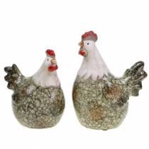 Figurines décoratives poule et coq gris, blanc, rouge 10,2cm x 7cm H12,7cm 2pcs