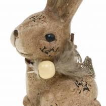 Figurines décoratives lapins avec plume et bois nacré marron assortis 7cm x 4.9cm H 10cm 2pcs