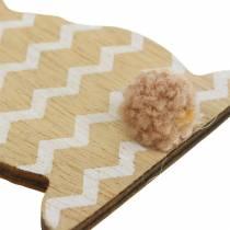 Lapin de Pâques à suspendre crème, marron, bois naturel assorti H11,5cm 6pcs