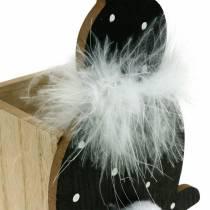 Boîte de jardinière en plumes de lapin boa noir, blanc lapin de Pâques en bois à pois
