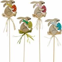 Lapin avec oeuf de Pâques sur un bâton, bouchon de fleur de lapin de Pâques, décoration en bois de Pâques, bouchon décoratif, décoration florale 12pcs
