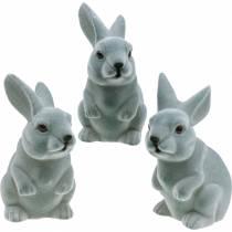 Lapin de Pâques assis debout, figurine de décoration lapin floqué, décoration de Pâques 3pcs