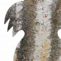 Lapin de décoration de Pâques à coller en bouleau rouille aspect métal 16,5 × 32cm