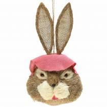 Décoration tête de lapin de Pâques à suspendre Paille H51cm