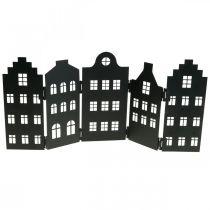 Déco maison métal noir stand silhouette ville 40×18cm