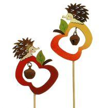 Sujet d'automne sur tige hérisson avec pomme 7 cm 12 p.