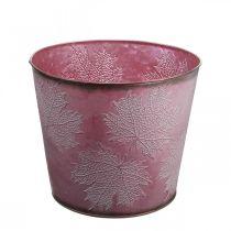 Pot d'automne, seau à plantes, décoration en métal avec feuilles rouge vin Ø25.5cm H22cm