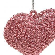 Cœur rose à suspendre avec strass 6,5 x 6,5 cm 12 p.