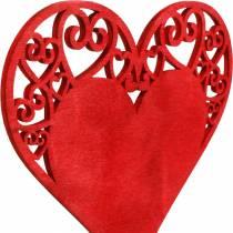 Coeur sur le bâton, coeur de bouchon décoratif, décoration de mariage, Saint Valentin, décoration de coeur 16pcs