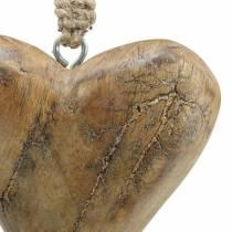 Coeur à suspendre mangue nature, doré 14 × 11cm 2pcs