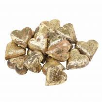 Coeurs en bois naturel, doré, argenté Bois de manguier 3,5–4,2 cm × 3,6–4,5 cm 18pcs