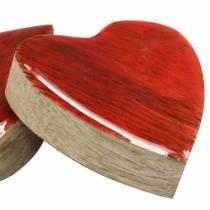 Coeurs en bois de manguier émaillé naturel, rouge 4,3cm × 4,6cm 16p