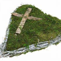 Décoration tombe coeur vignes, mousse avec croix pour arrangement funéraire 30×20cm