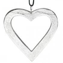 Coeur à accrocher, décoration métal, Noël, décoration mariage argent 11×11cm
