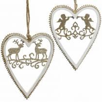 Coeurs à suspendre avec marqueterie bois, plastique blanc, doré, Ø9,2cm H12cm 4pcs