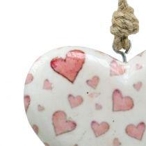 Attache décorative cœur en céramique 11 x 10 cm