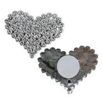 Cœurs autocollants en argent 5,5cm 12P
