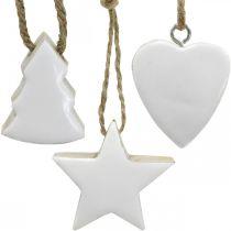 Décorations de sapin de Noël mélange de bois coeur étoile sapin blanc, nature 5cm 27p