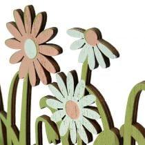 Décoration de printemps en bois avec coq et fleurs H21cm