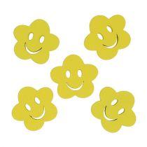 Fleur en bois jaune avec visage 2,5 cm 48 p.
