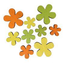 Fleur en bois 2-3,5cm orange, vert, jaune 36pcs
