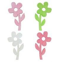 Fleur en bois 6 cm couleurs pastel 72 p.