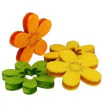 Fleurs en bois déco à parsemer 2 cm multicolore 144 p.