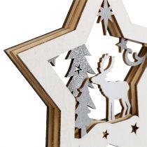 Suspension Étoile en bois avec motif 15cm 3pcs