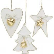 Pendentif Noël coeur / sapin / étoile, décoration bois, décoration arbre avec cloches blanc, doré H14.5 / 14 / 15.5cm 3pcs